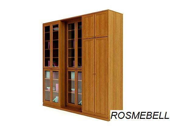 Комплект -4. раздвижной книжный шкаф+шкаф для одежды-rosmebe.